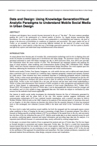 Data and Design: Using Knowledge Generation/Visual Analytic Paradigms to Understand Mobile Social Media in Urban Design